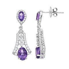 Sterling Silver African Amethyst Filigree Drop Earrings