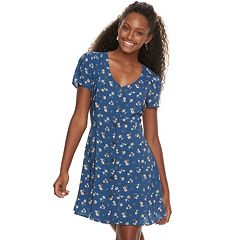 Juniors' Rewind Printed Button-Front Swing Dress