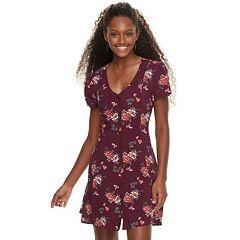 Juniors' Rewind Printed Button-Front Swing Dress