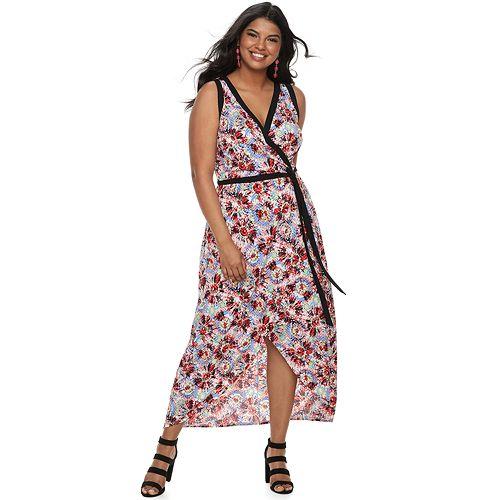 Juniors\' Plus Size Wrapper Contrast Trim Wrap Maxi Dress