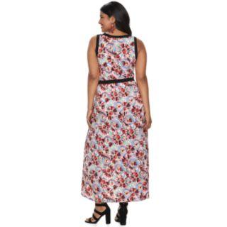 Juniors' Plus Size Wrapper Contrast Trim Wrap Maxi Dress