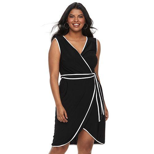 Juniors\' Plus Size Wrapper Contrast Trim Wrap Dress