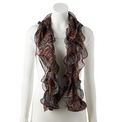 Women's Chaps Double Paisley Plaid Ruffled Oblong Scarf
