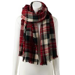 Women's Chaps Boucle Plaid Wrap Scarf