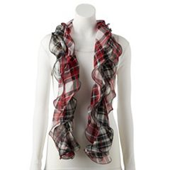 Women's Chaps Mixed Tartan Plaid Ruffled Oblong Scarf