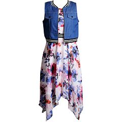 Girls 7-16 Emily West Watercolor Floral Dress & Varsity Vest