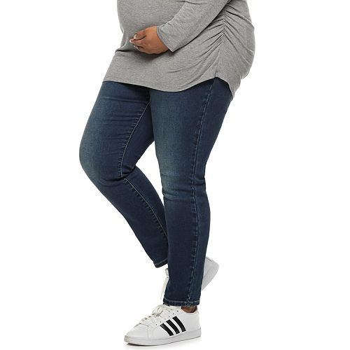 Plus Size Maternity a:glow Full Belly Panel Jeggings