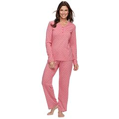 Women's Croft & Barrow® Jacquard Henley Tee & Pants Pajama Set