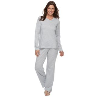 Petite Croft & Barrow® Jacquard Henley Tee & Pants Pajama Set