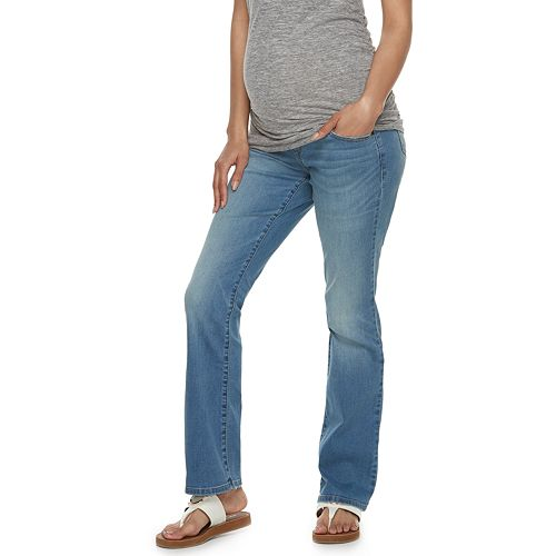 Maternity a:glow Full Belly Panel Slim Bootcut Jeans