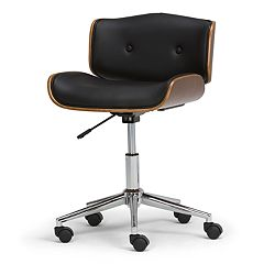 Simpli Home Dax Bentwood Faux-Leather Office Chair