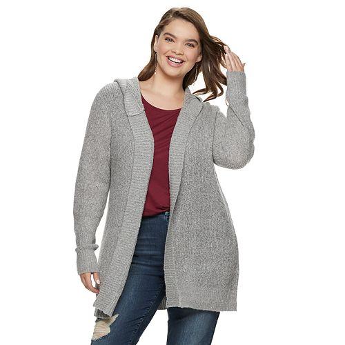 Juniors' Plus Size Mudd® Hooded Cardigan