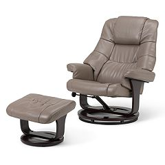 Simpli Home Ledi Euro Recliner & Ottoman 2-piece Set