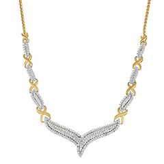 Two Tone Sterling Silver 1/2 Carat T.W. Diamond V Necklace