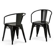 Simpli Home Larkin Metal Dining Arm Chair Set