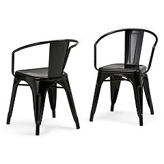 Simpli Home Larkin Metal Dining Arm Chair 2-piece Set