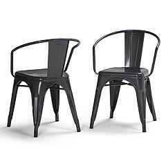 Simpli Home Larkin Metal Dining Arm Chair 2-piece Set