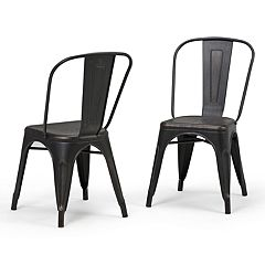 Simpli Home Fletcher Metal Dining Chair 2-piece Set