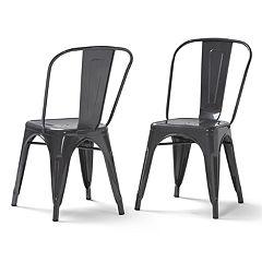 Simpli Home Fletcher Metal Dining Chair 2-piece Set
