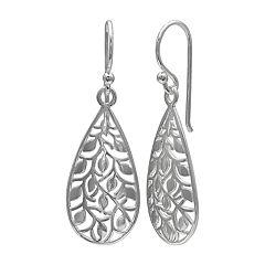 PRIMROSE Sterling Silver Filigree Leaf Earrings