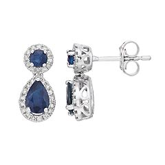 10k White Gold Sapphire & 1/4 Carat T.W. Diamond Teardrop Earrings
