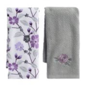 Mainstreet Grey Flower Kitchen Towel 2-pack