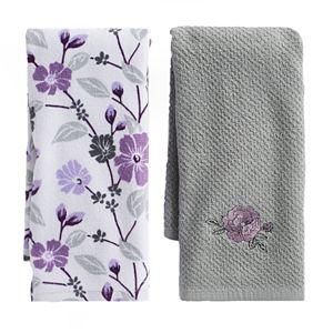 Mainstreet Grey Flower Kitchen Towel 2-pack