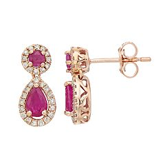 10k Rose Gold Ruby & 1/4 Carat T.W. Diamond Teardrop Earrings