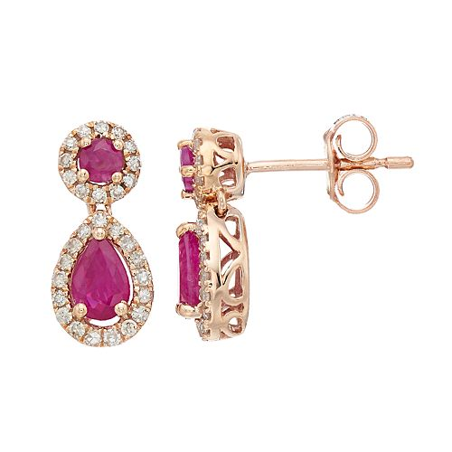10k Rose Gold Ruby & 1/4 Carat T.W. Diamond Teardrop Earrings