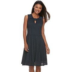 Women's Sharagano Open-Work Fit & Flare Dress