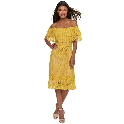Women's Sharagano Lace Off-the-Shoulder Dress