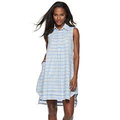 Women's Sharagano Striped Linen-Blend Shirt Dress
