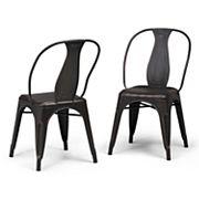 Simpli Home Merritt Metal Dining Arm Chair 2-piece Set