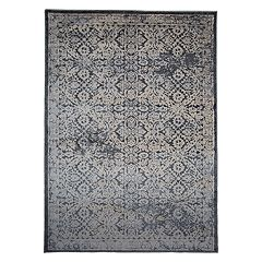 World Rug Gallery Portofino Transitional Distressed Framed Medallion Rug