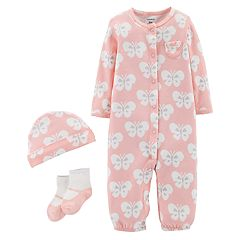 Baby Girl Carter's Patterned Convertible Coverall Gown, Cap & Socks Set