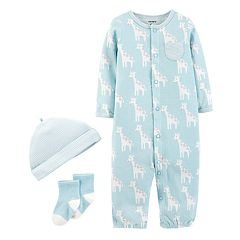 Baby Boy Carter's Patterned Convertible Coverall Gown, Cap & Socks Set