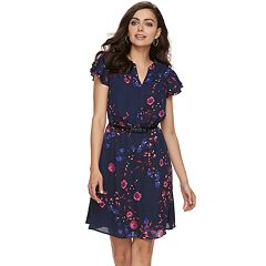 Women's ELLE™ Print Layered-Sleeve Fit & Flare Dress