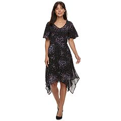 Women's ELLE™ Print Handkerchief-Hem Dress