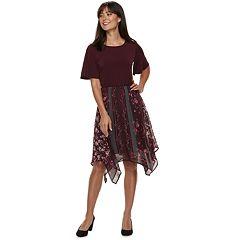 Women's ELLE™ Mixed-Media Handerchief Hem Dress