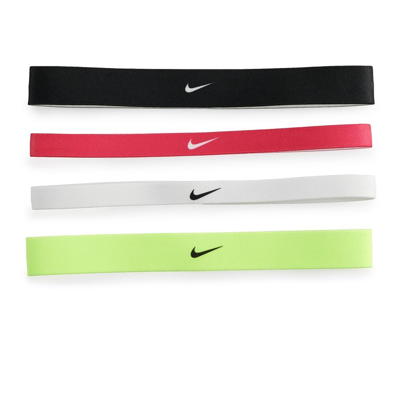 Women's Nike 4-Pack Solid Headband Set, Med Pink With four vibrant colors to choose from, this women's Nike headband set makes it easy to coordinate your sporty look. 4-pack Silicone grips for a secure fit Swoosh logo Fabric & Care Polyester, rubber, silicone Machine wash - cold Imported Size: Onesize. Color: Med Pink. Gender: Female. Age Group: Adult. Pattern: Solid.