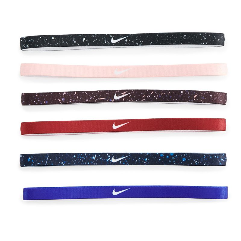 Women's Nike 6-Pack Solid & Printed Headband Set, Pink Ovrfl Sporty style is effortless with these Nike headbands. 6-pack Silicone grips for a secure fit Swoosh logo Fabric & Care Polyester, rubber, silicone Machine wash - cold Imported Size: Onesize. Color: Pink Ovrfl. Gender: Female. Age Group: Adult. Pattern: Printed.