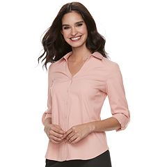 Women's ELLE™ Solid Roll-Tab Shirt