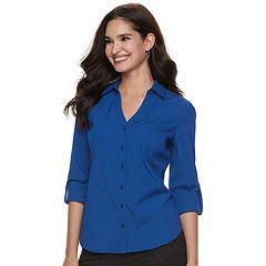 Women's ELLE™ Solid Roll-Tab Shirt