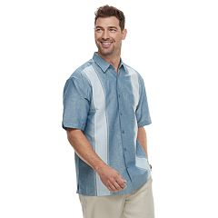 Big & Tall Havanera Linen-Blend Paneled Button-Down Shirt