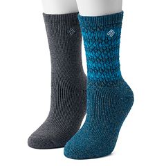 Women's Columbia 2-Pack Textured Wool Thermal Crew Socks