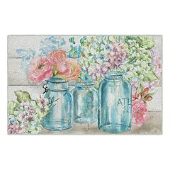 Brumlow Mills Colorful Flowers in Mason Jar Printed Rug