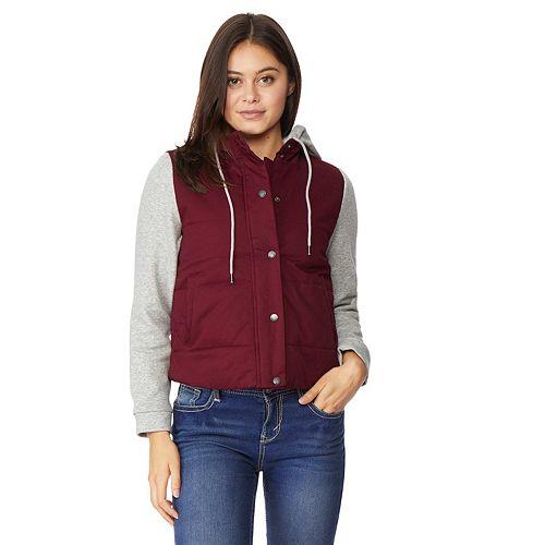 Juniors' WallFlower Knit Sleeve Hooded Puffer Jacket