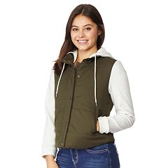 Juniors' WallFlower Knit Sleeve Hooded Puffer Jacket