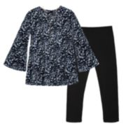 Girls 7-16 IZ Amy Byer Leopard Print Velvet Top & Leggings Set with Necklace
