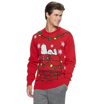 mens peanuts snoopy light up christmas sweater